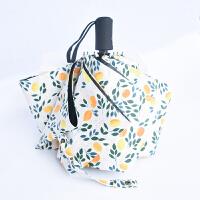 ????全自动雨伞韩国小清新男女晴雨两用折叠遮阳伞黑胶防紫外线太阳伞 白橙- 全自动