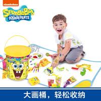 海绵宝宝 儿童涂鸦 手指画 无毒颜料创意涂鸦圆桶地垫套装