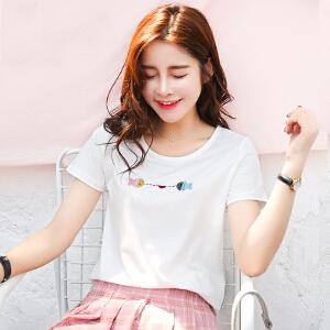 夏季新品韩版百搭棉小鱼绣花圆领短袖T恤女宽松显瘦小衫潮