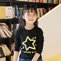 女童T恤衫儿童长袖上衣体恤衫童装 五星中大童女孩秋款