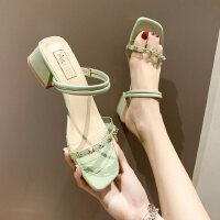 女士铆钉粗跟拖鞋韩版休闲时尚百搭ins潮透明中跟女鞋