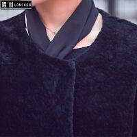 羊剪绒大衣女中长款圆领狐狸毛韩版皮草外套秋冬新款皮毛一体 黑色