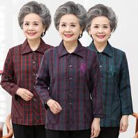 中老年女装妈妈装春装新款衬衫奶奶装长袖翻领格子衬衣老人衣服