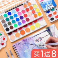 雄狮固体水彩颜料初学者36色固态画画粉饼儿童学生用便携水粉画工具套装小盒美术用品可洗小学生绘画安全无毒
