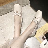浅口平底单鞋软底女鞋平跟豆豆鞋韩版夏季新款气质复古奶奶鞋