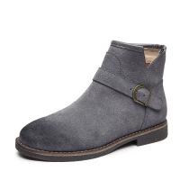 短靴女秋冬新款时尚百搭学生休闲复古低跟圆头磨砂皮一件