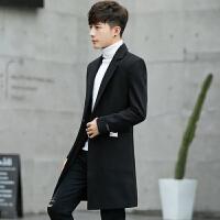 风衣男 中长款冬季时尚韩版修身英伦商务休闲长款外套呢子大衣男