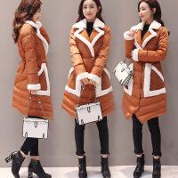 冬装新款韩版修身加绒棉衣女士西装领中长款显瘦棉袄外套