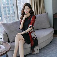 香衣宠儿 真丝连衣裙 2018夏季新品韩版显瘦印花短袖桑蚕丝裙子 2110-32
