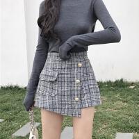 秋冬季新款学生高腰裙子不规则短裙格子A字裙裤单排扣半身裙女装