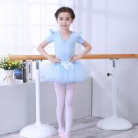 春夏公主蓬蓬裙棉连衣裙 六一儿童芭蕾舞裙考级练功服演出服长袖 天 蓝色