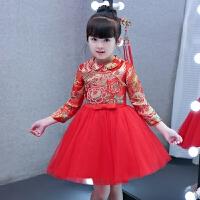 新款儿童旗袍裙中国风女童唐装复古红色小女孩连衣裙长袖公主裙    可礼品卡支付