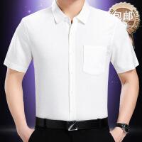 夏季男士短袖衬衫亚麻中年爸爸装宽松大码棉麻纯色桑蚕丝口袋衬衣