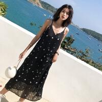 雪纺连衣裙女夏2018新款碎花中长款裙子沙滩裙吊带裙度假长裙