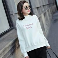 冬装新款半高领卫衣女学生韩版字母刺绣上衣慵懒chic宽松加绒外套 XS 78-94