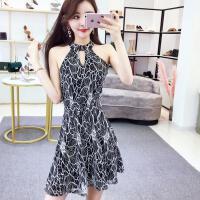 新款韩版女装时尚气质名媛蕾丝性感无袖露肩挂脖收腰显瘦连衣裙夏