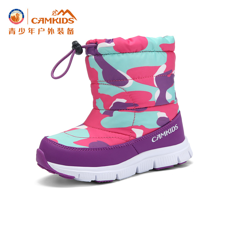 CAMKIDS儿童鞋中大童2017冬季男童靴小童户外女童鞋雪地靴