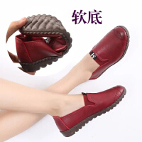 舒适休闲鞋坡跟套脚妈妈鞋平底中老年女士皮鞋休闲鞋子