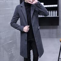男士风衣中长款秋冬季帅气修身加长款过膝呢子大衣韩版毛呢外套男