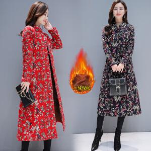 2018新品新款冬季民族风棉衣女中长款加绒加厚中国风盘扣复古棉麻外套
