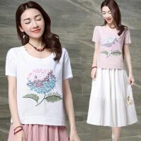 刺绣棉麻短袖T恤女装夏季宽松大码民族风上衣百搭圆领白色体恤潮