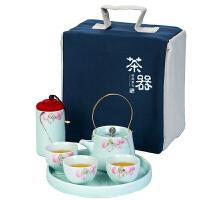 唐丰便携式旅行布包人工手绘陶瓷功夫干泡茶盘家用简约喝茶具套装