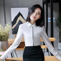 职业装白色衬衫女长袖秋修身工作服时尚正装ol工装加绒加厚衬衣冬