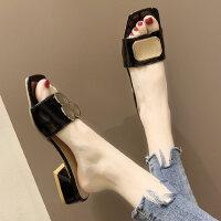 户外鞋子女潮新款百搭时尚鸳鸯方扣凉拖鞋可湿水夏季外穿