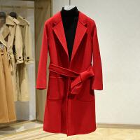 双面呢大衣女中长款冬装新款 韩版修身系带纯色休闲毛呢外套