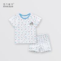 活力熊仔 2018夏季儿童内衣套装 薄款短袖短裤肩扣全棉0-2岁婴儿服装 夏季