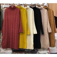 M6秋冬新款韩版高领麻花毛衣女套头中长款宽松针织打底衫长袖0.62