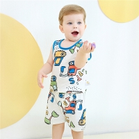 婴儿宝宝纯棉无袖套装2020夏季新款男女童背心短裤两件套