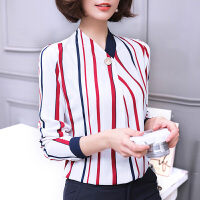 AGECENTRE 2018春装新款 春秋装新款韩版女装条纹雪纺衫长袖衬衫女