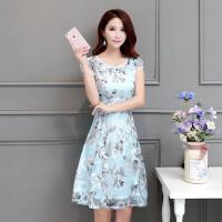 连衣裙夏季2018新款韩版中年女士气质显瘦碎花雪纺裙子a字裙中裙