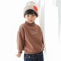 男童卫衣加绒2017新款韩版冬装儿童外套冬季半高领套头加厚潮