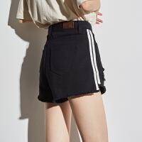 [2.5折价67.3元]唐狮牛仔短裤女夏2019新款韩版牛仔短裤女宽松阔腿裤高腰破洞