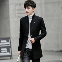 风衣男韩版修身帅气男士秋冬季中长款呢子外套新款男装潮毛妮大衣