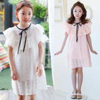 亲子装母女连衣裙夏季韩版女童甜美露肩蕾丝裙中大童漏肩公主裙子