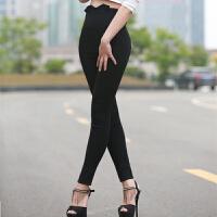 加绒加厚女裤新款超高腰修身小脚裤黑色铅笔裤显瘦高腰打底裤外穿 黑色 【普通款】