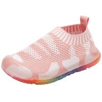 儿童鞋子网面透气针织鞋春秋季小童运动鞋子彩虹宝宝鞋