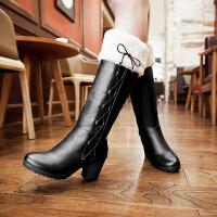彼艾2016韩版靴子毛绒马丁靴带绒毛毛靴粗高跟圆头骑士长靴女鞋高筒靴长靴