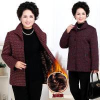 中老年女装加绒加厚秋冬装外套女大码印花妈妈装上衣外衣50-60岁