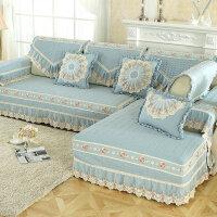 水洗布艺沙发垫简约现代四季色欧式坐垫滑客厅组合沙套罩巾J