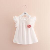 宝宝雪纺袖笼衫夏装新款女童童装儿童花朵无袖上衣
