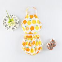 淘气麦兜 新款童装女童夏季连衣裙套装婴儿2件套宝宝水果裙吊带裙三角短裤PP裤