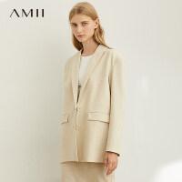 【券后预估价:245元】Amii极简复古英伦风西装外套女2019秋装新款宽肩中长款宽松西服潮