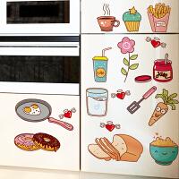 画厨房餐厅食物图标小贴士冰箱贴纸墙壁装饰厨具橱柜门贴墙贴画 装饰贴自粘墙贴画墙贴装饰 创意个性<卡通厨房贴 墙贴ins少