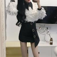 2018流行女装新款羽毛蕾丝打底不规则高腰短裙娇小女装 时髦套装