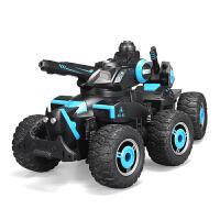 儿童电动遥控汽车可射水遥控对战坦克越野遥控车装甲战车男孩玩具 六轮极地战车 黑蓝色(射水) 官方标配