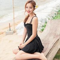 韩版女士泳衣显瘦遮肚小胸聚拢性感纯色修身海边度假裙式连体泳装